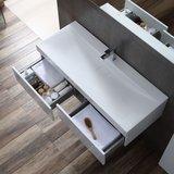 Badkamermeubel wit met mineraal gegoten wastafel en LED spiegel hoogwaardig gelakt MDF - EAGO Brugge