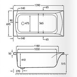 Ligbad inbouw Acryl Wit 1400x700mm - Eastbrook Delta