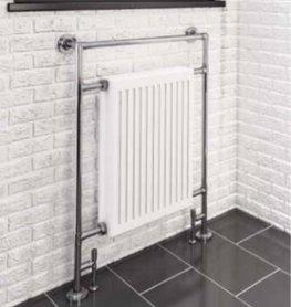 Klassieke kleine handdoekradiator staal chroom/wit 95,2x68,5cm 580 watt - Eastbrook Twyver