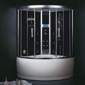 Stoomdouche met whirlpool 135x135cm zwart - DA325HF8 Eago