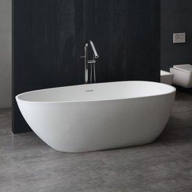 Vrijstaand ligbad badkuip 180x83cm glanzend wit mineraal gegoten - BS-525 StoneArt