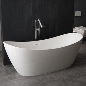 Vrijstaand ligbad badkuip 185x79cm mat wit mineraal gegoten - BS-526 StoneArt