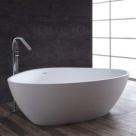 Vrijstaand ligbad badkuip 180x140cm mat wit mineraal gegoten - BS-533 StoneArt