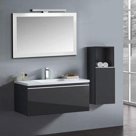 Badkamermeubelset wastafelmeubel incl. spiegel 100x45x48cm Donker grijs - Milano ME-1000 STONEART