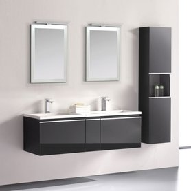 Badkamermeubelset wastafelmeubel incl. spiegel 140x45x48cm Donker grijs - Milano ME-1400 STONEART