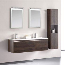 Badkamermeubelset wastafelmeubel incl. spiegel 140x45x48cm Donker eiken - Milano ME-1400 STONEART