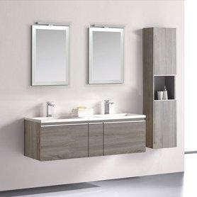 Badkamermeubelset wastafelmeubel incl. spiegel 140x45x48cm licht eiken - Milano ME-1400 STONEART