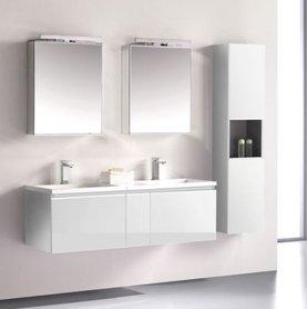Badkamermeubelset wastafelmeubel incl. spiegel 140x45x48cm Wit - Milano ME-1400-1 STONEART