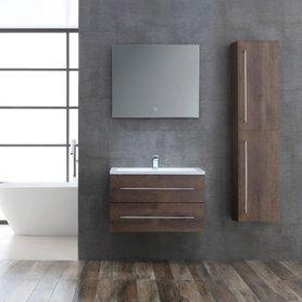 Badkamermeubelset houtkleur donker eiken 80cm breed incl. spiegel - San Marino SA-0800 StoneArt