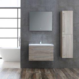 Badkamermeubelset houtkleur licht eiken 80cm breed incl. spiegel - San Marino SA-0800 StoneArt