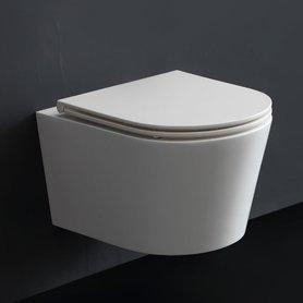 Hangend toilet 52x38cm mineraal gegoten mat wit - TMS-507P StoneArt