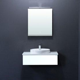 Toscana wastafelkast TC-0801 wit 80x25 AP-met wit werkblad inclusief wastafel en LED badkamer spiegel met verlichting