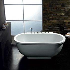 Whirlpool vrijstaand bubbelbad badkuip 180x95cm wit versterkt acryl - AM128JDTS  Eago