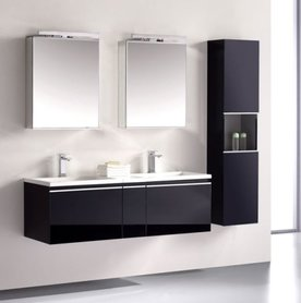 Badkamermeubelset wastafelmeubel incl. spiegel 120x45x48cm Donker grijs - Milano ME-1200pro-5 STONEART