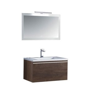 Badkamermeubelset wastafelmeubel incl. spiegel 80x45x48cm Donker eiken - Milano ME-0800 STONEART