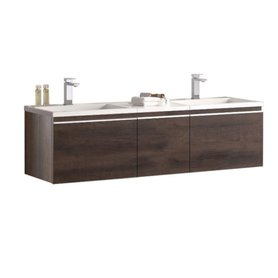 Badkamermeubel wastafel onderkast 160x45x48cm Donker eiken - Milano ME-1600 STONEART