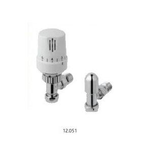 Radiatorkraan traditioneel thermostatisch met afsluiter in chroom / wit met hoekaansluiting - Wingrave Eastbrook