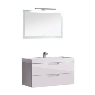 Badkamermeubel wit met wastafel en LED spiegel hoogwaardig gelakt MDF - EAGO Barcelona