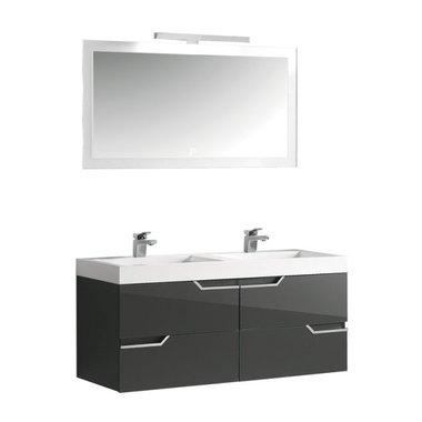 Badkamermeubel donkergrijs met wastafel en LED spiegel hoogwaardig gelakt MDF - EAGO Barcelona