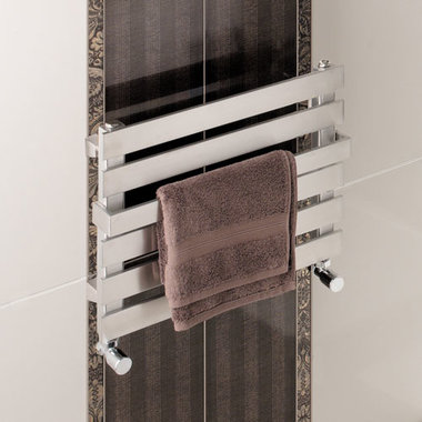 Kleine design handdoekradiator RVS chroom 39x50cm 280 watt - Eastbrook ascona