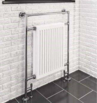 Klassieke kleine handdoekradiator Staal Chroom/Wit 952x685mm 580 watt - Eastbrook Twyver