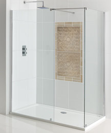 Corniche walk-in eindpaneel van 8mm easy clean glas 760mm