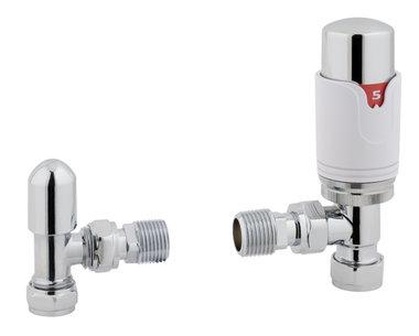 Radiatorkraan thermostatische met afsluiter in chroom / wit met hoekaansluiting - Biava Eastbrook