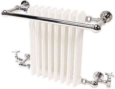 Klassieke kleine handdoekradiator staal chroom/wit 51x68cm 672 watt - Eastbrook Coln