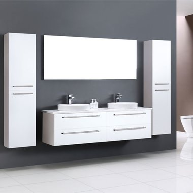 Badkamermeubelset wastafel incl. waskom Neapel NA-1600 wit 160x47 wastafelblad wit - Neapel StoneArt