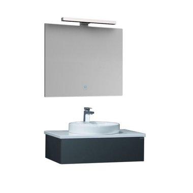 Badkamermeubel wastafelmeubel donkergrijs 80x25cm incl. waskom en LED badkamerspiegel - Toscane TC0801 EAGO
