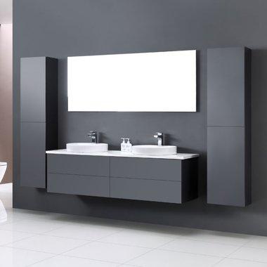 Badkamermeubel wastafelmeubel donkergrijs 160x47cm incl. dubbele waskom en LED badkamerspiegel - Toscane TC1600 EAGO