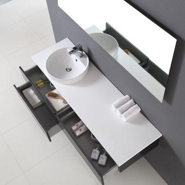 Badkamermeubel wastafelmeubel donkergrijs 160x47cm incl. waskom en LED badkamerspiegel - Toscane TC1601 EAGO
