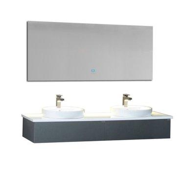 Badkamermeubel wastafelmeubel donkergrijs 160x25cm incl. dubbele waskom en LED badkamerspiegel - Toscane TC1602 EAGO