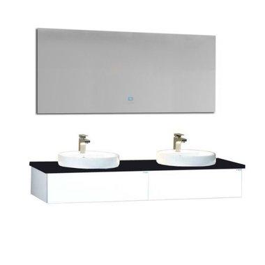 Wastafelmeubelset wit 100x56 inclusief wastafel en led spiegel - BU-1001pro Brugge