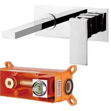 Inbouwkraan wastafel badkamer hoogglans chroom - Lecco 938450 StoneArt
