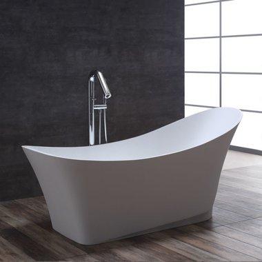 Mineraal gegoten vrijstaand bad BS-501 Glanzend wit