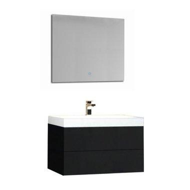 Wastafelmeubelset donkergrijs 80x56 inclusief wastafel en led spiegel - BU-0801 Brugge