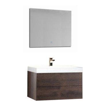Wastafelmeubelset donker eiken 80x56 inclusief wastafel en led spiegel - BU-0801 Brugge