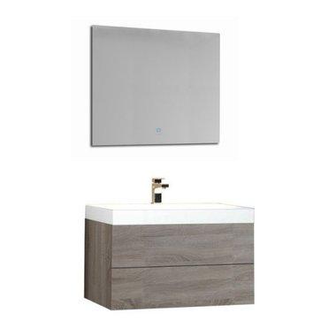 Wastafelmeubelset licht eiken 80x56 inclusief wastafel en led spiegel - BU-0801 Brugge
