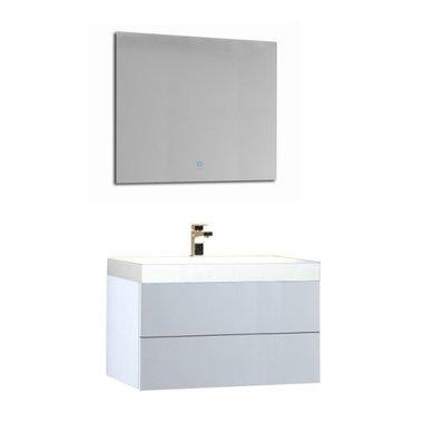 Wastafelmeubelset wit 80x56 inclusief wastafel en led spiegel - BU-0801 Brugge