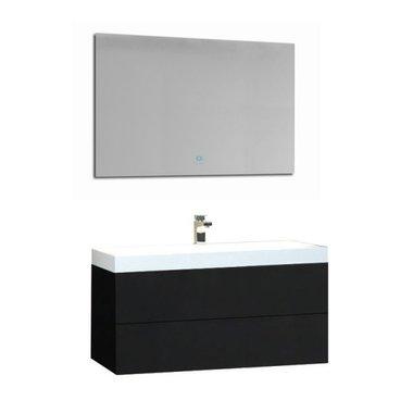 Wastafelmeubelset donkergrijs 90x56 inclusief wastafel en led spiegel - BU-0901 Brugge