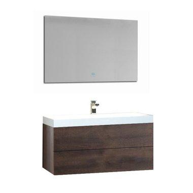 Wastafelmeubelset donker eiken 90x56 inclusief wastafel en led spiegel - BU-0901 Brugge