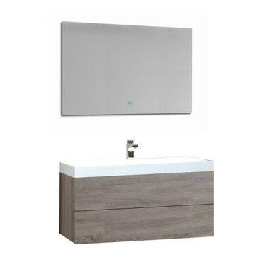 Wastafelmeubelset licht eiken 90x56 inclusief wastafel en led spiegel - BU-0901 Brugge