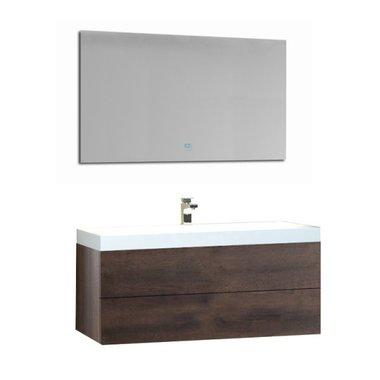 Wastafelmeubelset licht eiken 100x56 inclusief wastafel en led spiegel - BU-1001pro Brugge