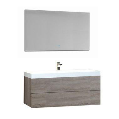 Wastafelmeubelset licht eiken 100x56 inclusief wastafel en led spiegel - BU-1001 Brugge