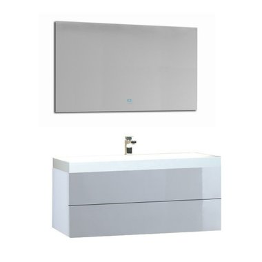 Wastafelmeubelset wit 100x56 inclusief wastafel en led spiegel - BU-1001 Brugge