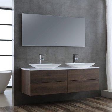 Wastafelmeubelset donker eiken 160x56 inclusief wastafel en led spiegel - BU-11601pro-1 Brugge