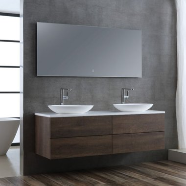 Wastafelmeubelset donker eiken 160x56 inclusief wastafel en led spiegel - BU-11601pro-3 Brugge