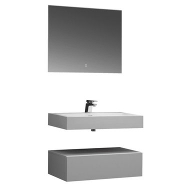 Badkamermeubelset wastafel hangend 80cm mat wit - LP4508+ Stoneart