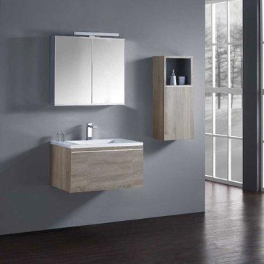 Milano badkamerkast ME-0800+ Licht eiken 80x45 inclusief wastafel en LED badkamerspiegel met verlichting